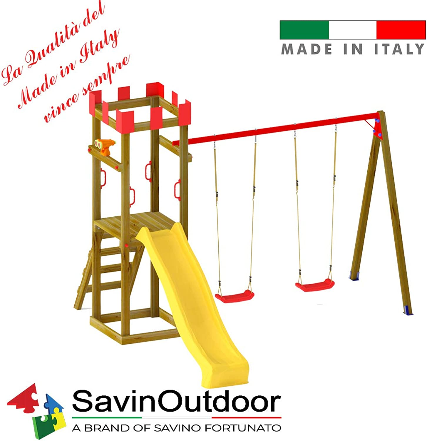SavinOutdoor Torre Sole Single mit Doppelschaukel