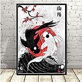 Brandless Decorazioni per la casa Stampe Quadri per Pittura Arte della Parete Rubino Geisha Samurai Giapponese Poster Nordico modulare su Tela 50x70cm Nessuna Cornice