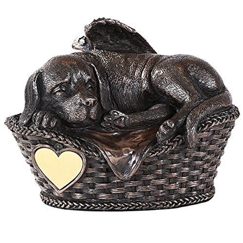 Pet Memorial Angel Dog Sleeping In Basket Urn