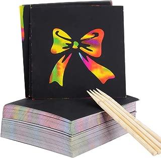 MEJOSER 200 Hojas Scratch Paper Papel para Rascar 8,5 x 8,5cm con 4 Lápices Dibujos Magicos Juego de Dibujar Manualidades Escribir