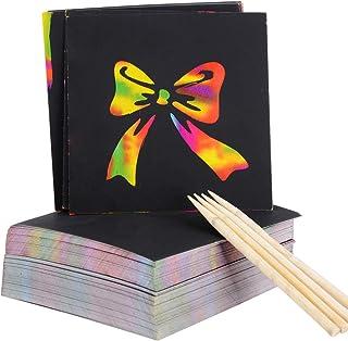 MEJOSER 200pcs Cartes a gratter Rainbow Papier Gratter avec 4 Stylets en Bois pour Fille Garçon Anniversaire Jeux Noel Fêt...
