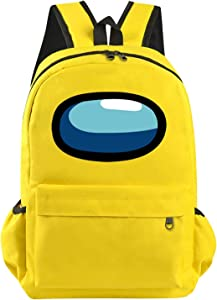 Imposter backpack you look sus day packs meme crewmate laptop school bags outdoor hiking for kids boy girl (17 In) Yellow