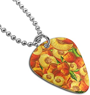 Sheery Peach Fruit Pattern Dog Tag Pendant With Guitar Bassiform