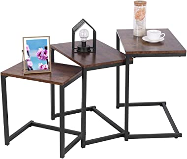 Pollyhb Nesting Coffee Tables Sets of 3 End Side Tables Industrial Stacking Metal Modern Table for Bedroom Living Room Set wi