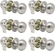 Probrico Passage Door Lock Brushed Nickel Interior Keyless Round Door Knobs Handles Locksets 6 Pack