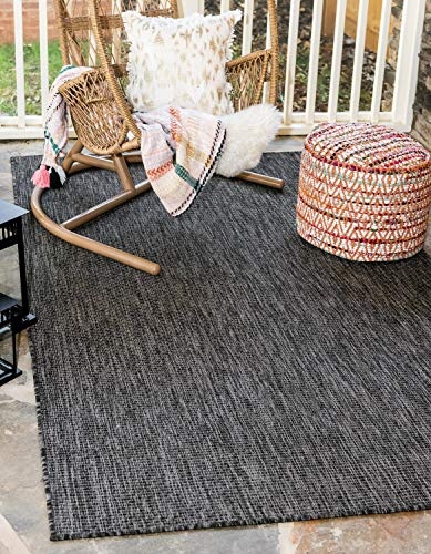 Unique Loom Outdoor Solid Collection Casual Transitional Indoor and Outdoor Flatweave Black Area Rug (7' 0 x 10' 0)