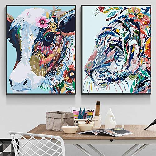 N / A Pintura sin Marco Pintura Abstracta sobre Lienzo Vaca