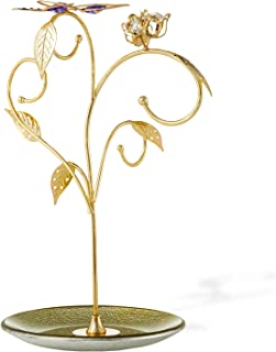24k Gold Plated Jewelry Stand Elegant Floral -Butterfly Design Decor