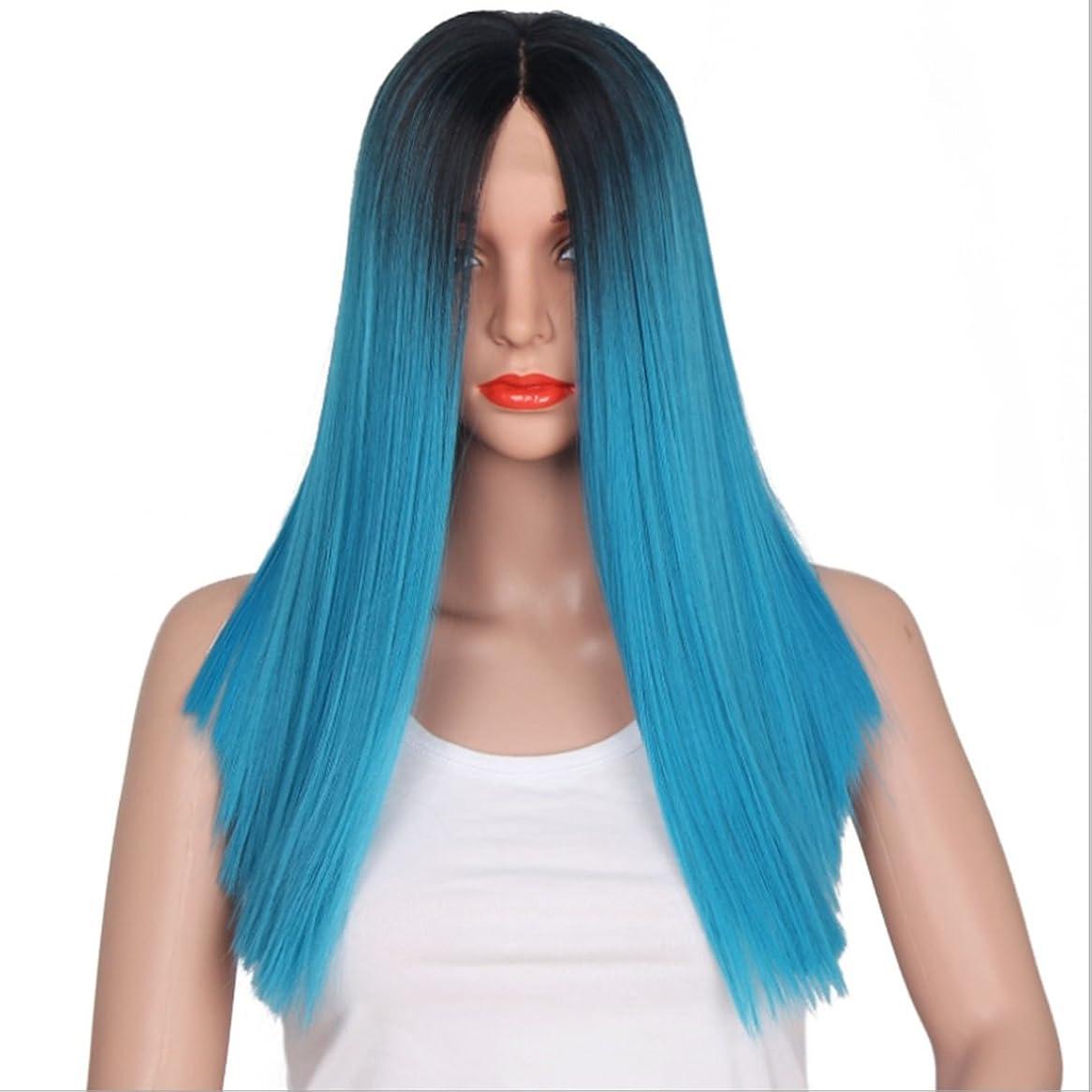 あえぎ考古学者ニコチンDoyvanntgo 女性用レースフロントロングブラックグラデーションブルーヘアレースレース髪用合成ストレートコスプレウィッグ付き16インチフルハンドウィービングストレートウィッグ (Color : Black gradient blue)