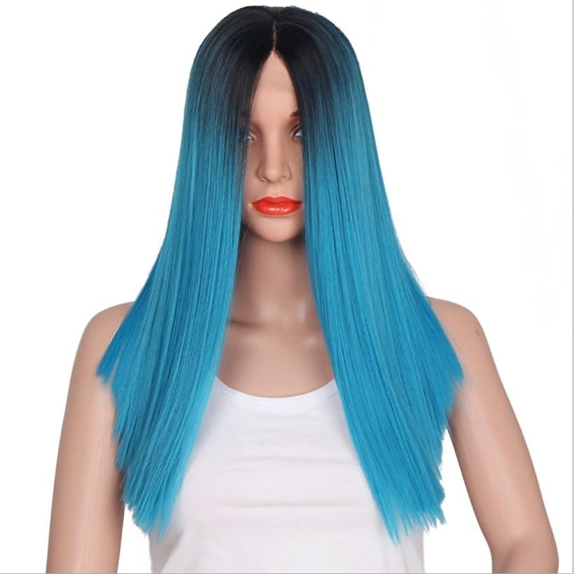 ピッチ現れる暗黙BOBIDYEE 16インチフルハンドウィッグストレートウィッグ女性用レースフロントロングブラックグラデーションブルーヘアーミディアム前髪付きレースヘア合成ストレートコスプレかつらロールプレイングウィッグ (色 : Black gradient blue)