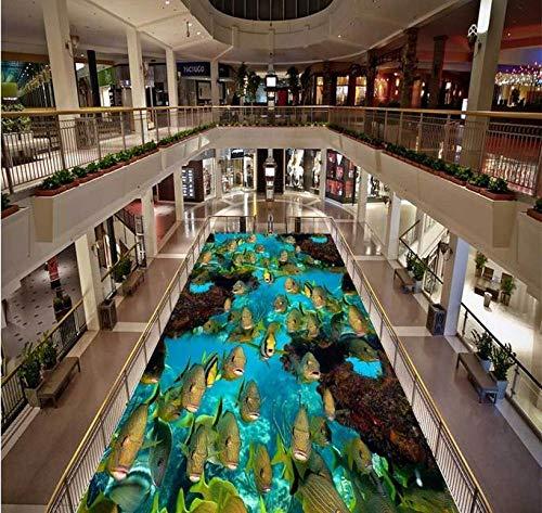 Papel tapiz de fondo para pisos 3d, peces de mar de coral personalizados, baldosas 3d, papel tapiz autoadhesivo de pvc, suelo de baldosas, baño-350 * 245cm