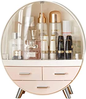 Creative Desktop Cosmetic Storage Box Household Dressing Table Drawer Type Finishing Frame Retro 3 Layer Sealed Dust Perfume Skin Care Storage Rack Waterproof (Color : Pink)