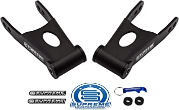 Supreme Suspensions - 2 Inch Rear Lowering Kit for 2009-2019 Ford F-150 [2WD 4WD] Steel Shackles Pair Drop Kit PRO