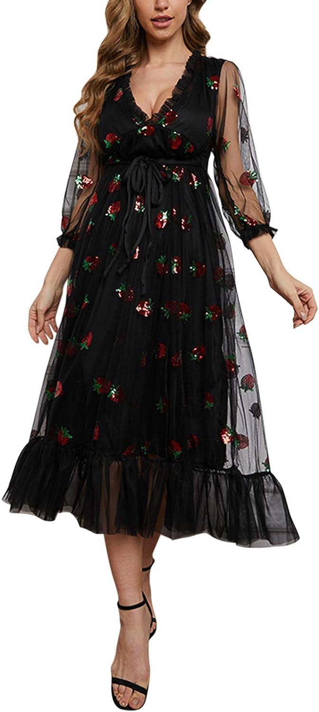 FOCUSNORM Womens Long Sleeve Dress Long Sleeve V Neck Strawberry Sequins Ruffle Mesh Party Dresses Wedding Guest Dresses