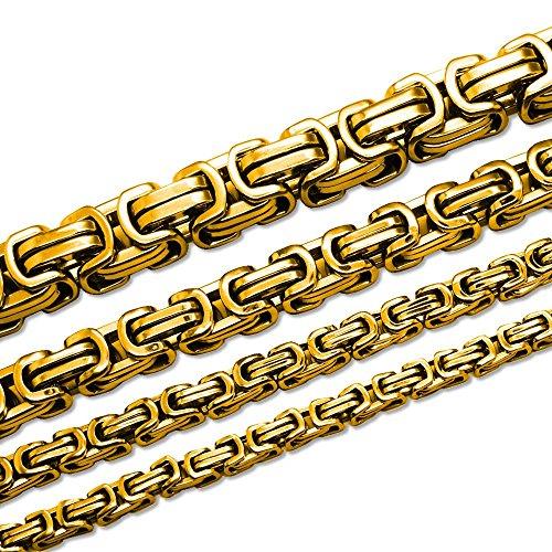 SoulCats® Königskette Halskette Armband Set Panzerkette Edelstahl Gold, Größe:5 mm;Farbe:Gold;Auswahl:Kette 55 cm