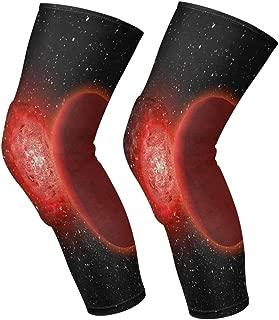 Knee Sleeve Burning Mars and Starry Sky Full Leg Brace Compression Long Sleeves Pads Socks for Meniscus Tear, Arthritis, Running, Workout, Basketball, Sports, Men and Women 1 Pair