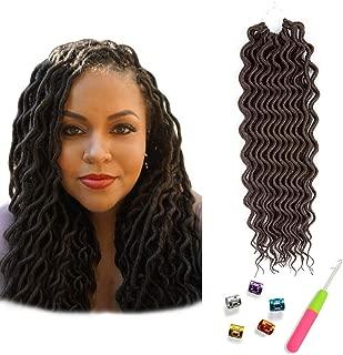 (6Packs)18inch Curly Faux Locs Soft Hair Twist Braids Crochet Braiding Hair Braids Mambo Hair Extension 24Roots/Pack (18inch, 4#)