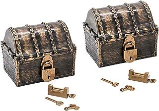 Perfeclan 2Pcs Pirate Treasure Boxes Small Wood Treasure Chest Keepsake Box for Kids Gift, Home Decorations
