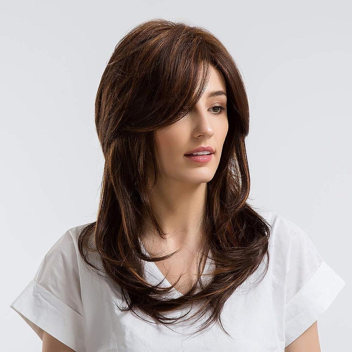 どうやら罹患率不安定ZXF ヨーロッパとアメリカ合衆国の部分的な長いストレートの髪ダークブラウン斜めの前髪混合髪本物のかつら 美しい
