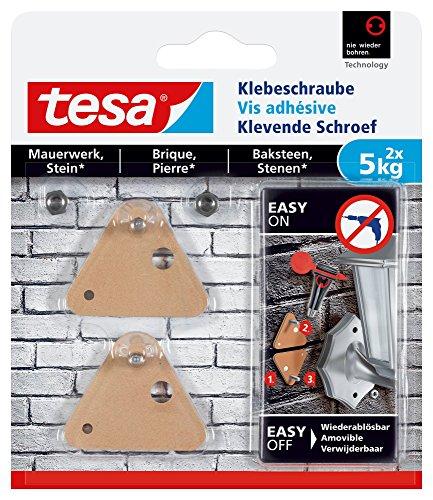tesa Klebeschraube für Mauerwerk und Stein, Halteleistung 5 kg, dreieckig, 2 Stück