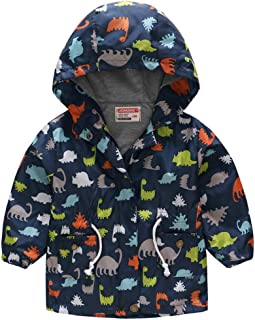 Kauneus 🌻 Kids Baby Girls Boys Butterfly Dinosaur Hooded Trench Coat Jacket Outwear Hoodies with Pockets Drawstring (2-8Y)