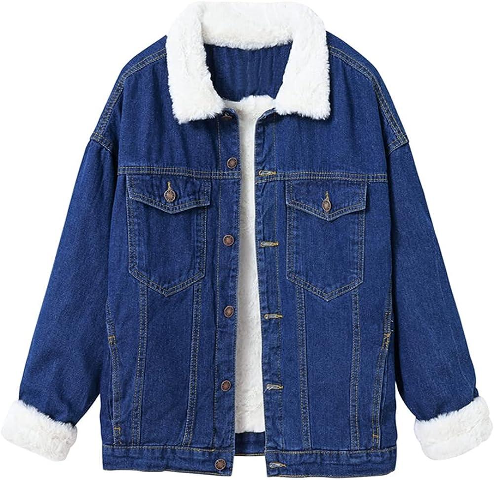 LifeShe Women's Winter Faux Fur Collar Sherpa Fleece Lined Denim Jacket Jean Coat
