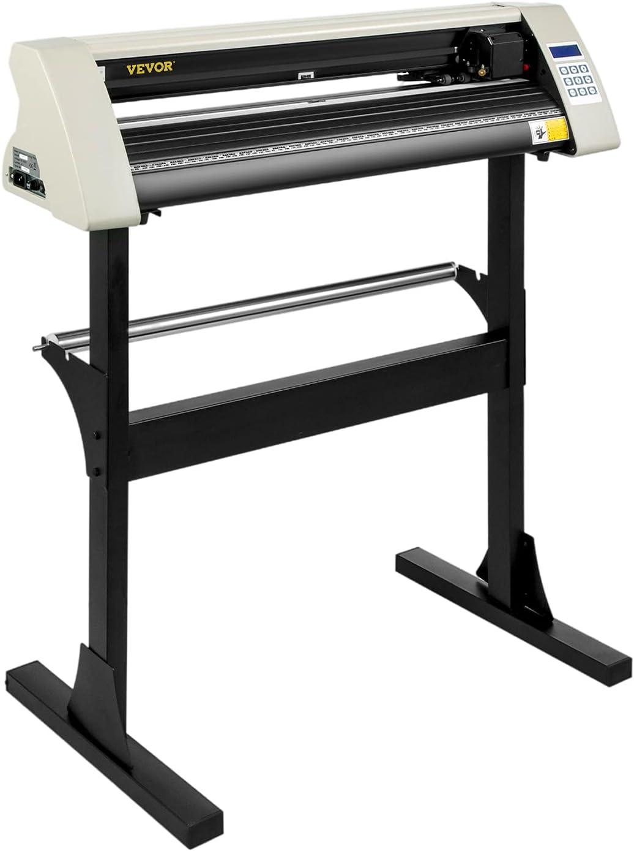 VEVOR Vinyl Cutter Machine, 28 Inch Paper FeedCutting Plotter Bundle, Adjustable Force & Speed Vinyl Printer, LCD Display Windows Compatible Sign Making kit w/Signmaster, Sturdy Stand, 3Blades, White