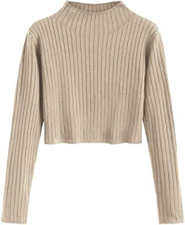 DEZZAL Women's Mock Neck Long Sleeve Ribbed Knit Pullover Crop Sweater