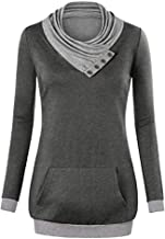 LONGDAY Womens Turtleneck Cowl Neck Tops Plaid Patchwork Shirts Oversized Tunic Long Sleeve Pullover Swing Blouse