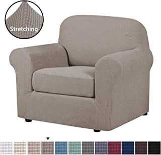 Stretch Chair Slipcovers Sofa Covers 2 Pieces Furniture Protector Rich Textured Lycra High Spandex Small Checks Knitted Jacquard Sofa Cover Chair Covers for Living Room (Chair-1 Seater, Taupe)