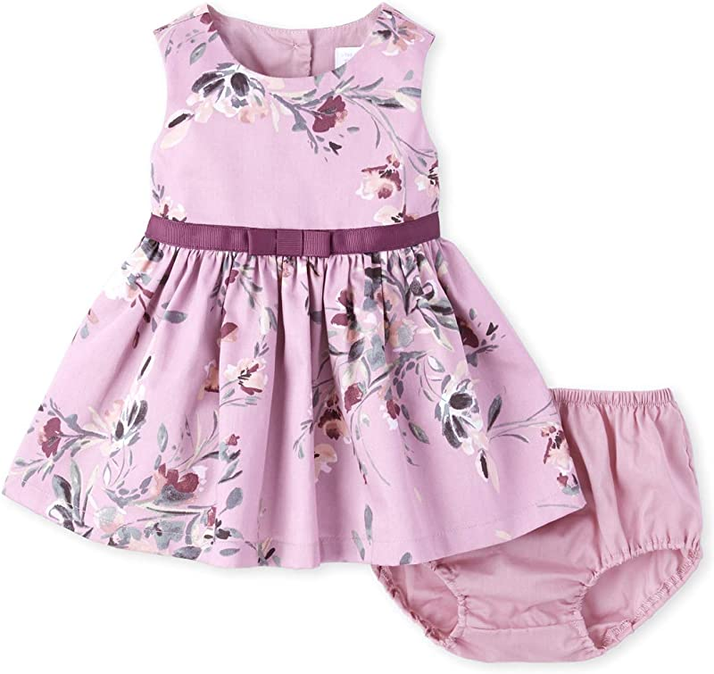 The Children S Place Baby Girls Pleated Flower Print Dress