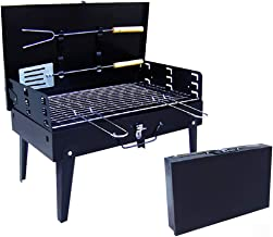 Skytower Folding Picnic Camping Charcoal BBQ Grill Adjustable Height Portable Garden Barbecue Grill Broiler Outdoor Cookin...