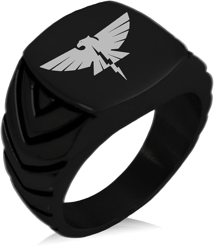 Tioneer Stainless Steel Zeus Greek God of Sky Chevron Pattern Biker Style Polished Ring
