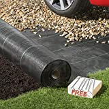 Pro-Tec 2m x 50m Heavy Duty 100g Weed Control Membrane Ground Cover Landscape Fabric + 50 FREE PEGS