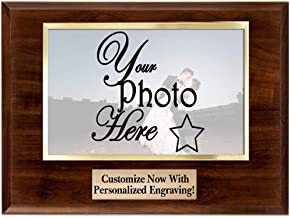 Crown Awards Horizontal Photo Frame Plaque - 9x7 Custom Photo Plaque Gift with Clear Acrylic Photo Cover and Personalized Engraving Prime
