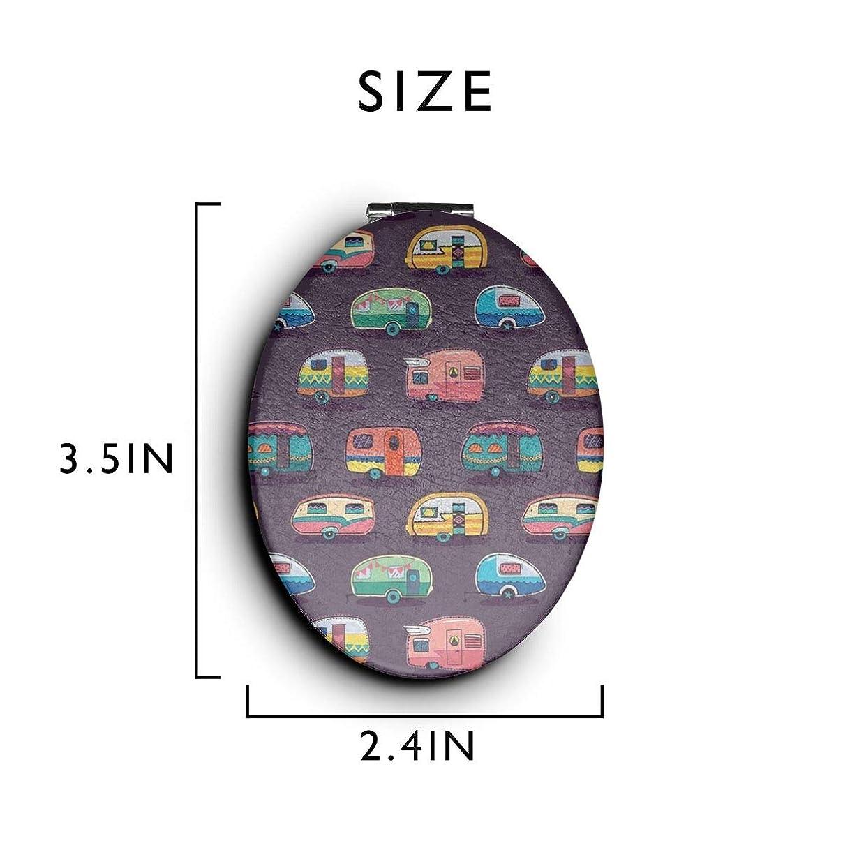 カートスリラー再開化粧鏡 コンパクトミラー 楽しいキャンプ 手鏡 携帯ミラー 折りたたみ鏡 拡大鏡 両面ミラー