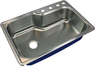 Transolid MTSO33229-4 Meridian 4-Hole Drop-in Single Bowl 16-Gauge Stainless Steel Kitchen Sink, 33-in x 22-in x 9-in, Brushed Finish
