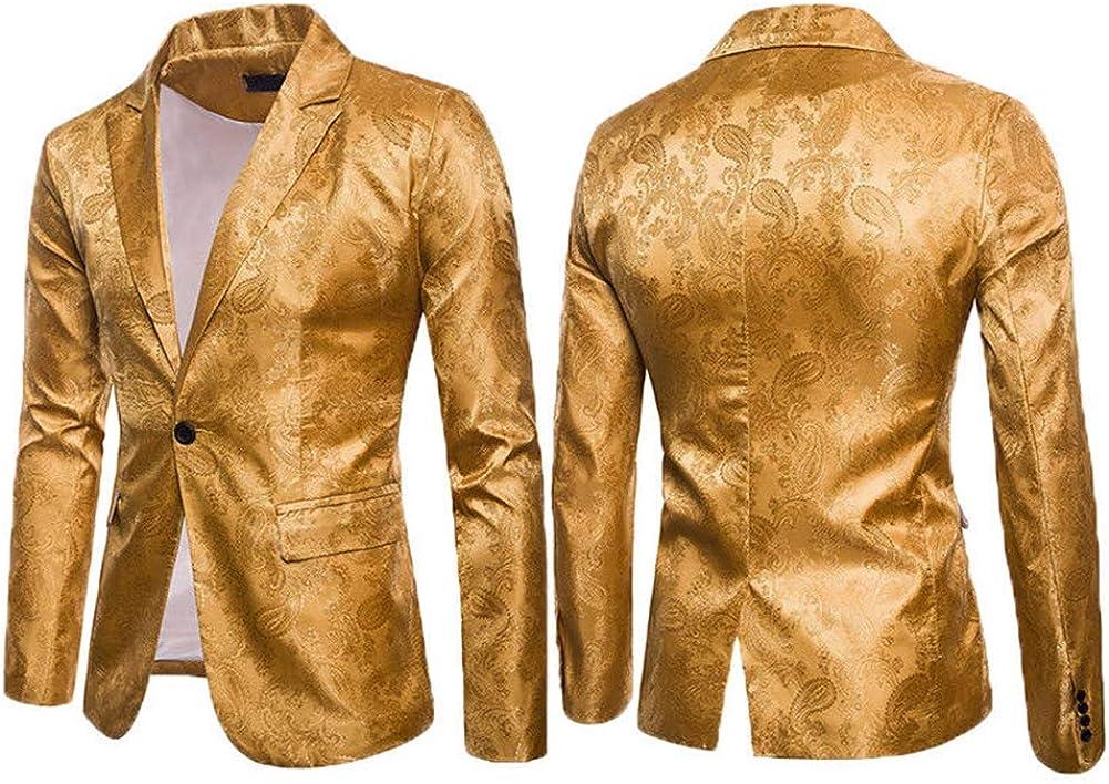 turuste Men's Slim Fit Suit One Button Suit Coat Blazer Lightweight Jacket