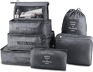 مجموعة صناديق التعبئة 7 قطع منظم الأمتعة السفر مع حقيبة الغسيل, , رمادي - 5438