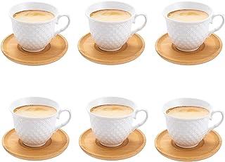 SOPRETY Lot de 6 tasses à café en porcelaine avec soucoupes en bambou (6 tasses/6 soucoupes), tasses à café turques 80 ml,...