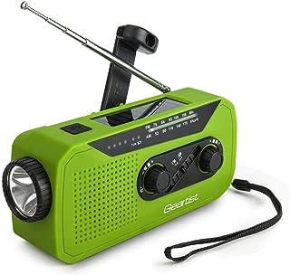 Geartist GTR66 ソーラーラジオ 手回しラジオ USB充電ラジオ AM/FM携帯ラジオ 天気報告ラジオ 2000mAh電池容量 イヤホンジャック 充電インジケータ 高輝度LED懐中電灯付き 緊急 災害時用パワー・バンク1年保証 (緑)
