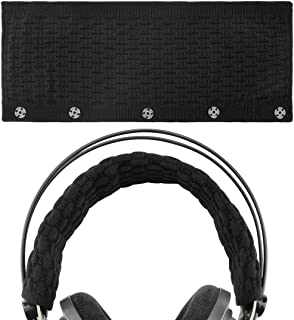 Geekria Knitting Headband Cover, Compatible with Bose, AKG, Sennheiser, Sony, Beats, Audio-Technica Replacement Headband Cover/Comfort Cushion/Top Pad Protector (Black Large)