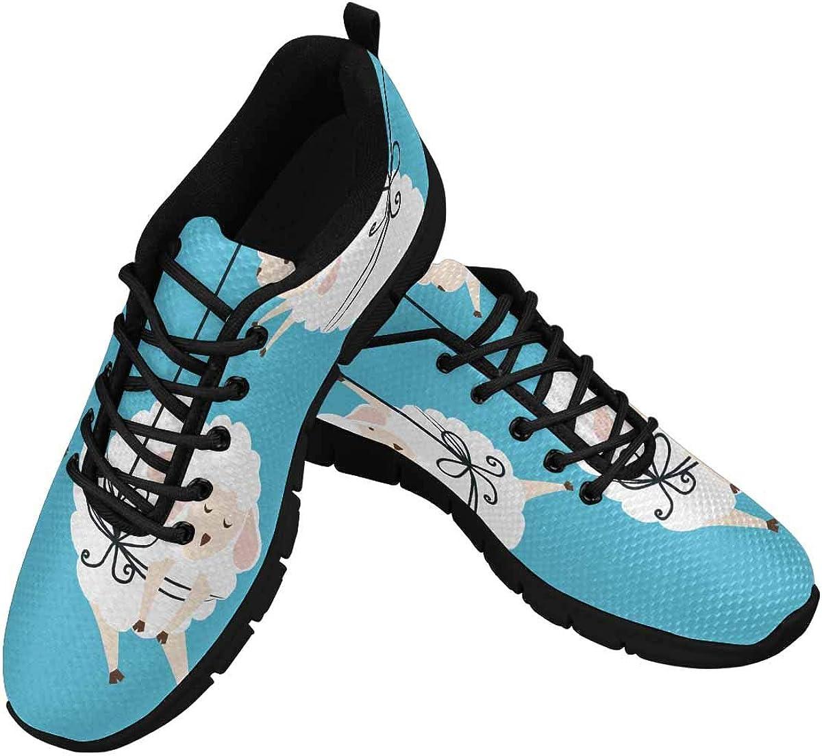 INTERESTPRINT Bundled Three Sheep Women's Sneaker Lace Up Running Comfort Sports Shoes