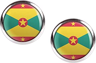 Stud Earring Pair with Cabochon Picture Grenada St. George's flag silver different sizes