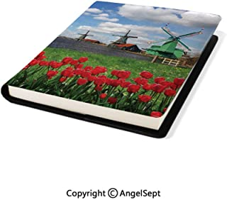 Fashion School Book Protector, Traditional Dutch Windmills with Red Tulips in Amsterdam Scenic Field River Multicolor,8.7