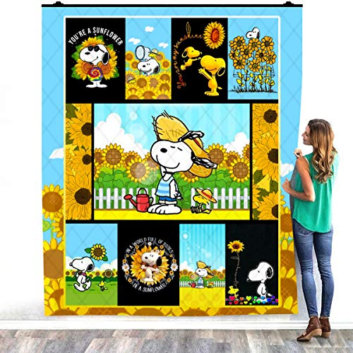 TEELESTO Sunflower Snoo-py Quilt Blanket, You are My Sunshine Blanket, Gift for Christmas,Snoo-py Fan Gift Idea Warm Bed Throws – Decorating Bedrooms Home Sherpa Blanket (60″ x 80″)
