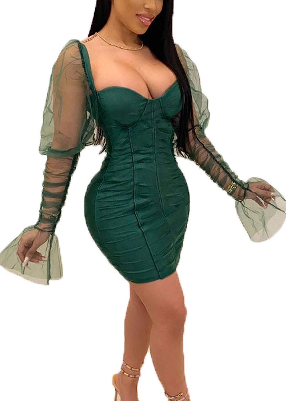 Cocoinsity Womens Clubwear Dresses Bodycon Long Sleeve Mesh Patchwork Party Mini Dress