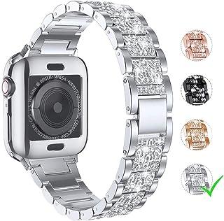 LElong para Apple Watch Band 1.496 in 1.575 in 1.654 in 1.732 in Serie 5 Serie 4 3 2 1 con funda, pulsera de repuesto Bling para iWatch, correa de metal de acero inoxidable con diamantes de imitación, Plateado