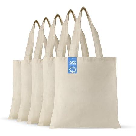 Simply Green Solutions - Bolsas de tela de algodón reutilizables en blanco, 100 % algodón, juego de 5 bolsas para la escuela, bolsas para compras de comestibles, artículos promocionales divertidos o bolsas ecológicas reutilizables