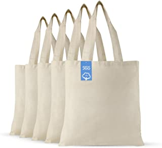 Simply Green Solutions Blank 100% Cotton Fabric Reusable Cloth Bags - Set of 5 - Tote Bags for School, Tote Bags for Groce...